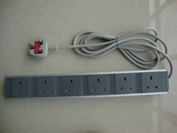 6 Receptacle European Power Strip , Multi Plug Extension Cord Power Bar